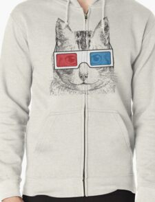 Cat Geek Shirt Zipped Hoodie
