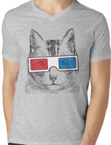 Cat Geek Shirt Mens V-Neck T-Shirt