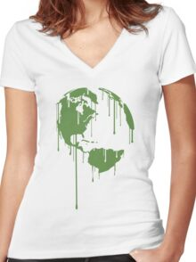 One Earth Graphic Shirt Women's Fitted V-Neck T-Shirt