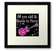 ROCK N ROLL 16TH BIRTHDAY DESIGN Framed Print