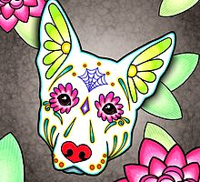 Day of the Dead German Shepherd in White Sugar Skull Dog by prettyinink