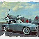 Yakovlev Yak-9 & Merc 190SL Coupe by Steven  Agius