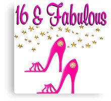 SWEET 16TH BIRTHDAY PINK HIGH HEELED DESIGN Canvas Print
