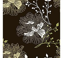 Gorgeous Floral on Dark Brown Photographic Print