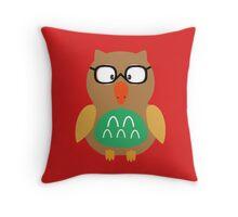 Nerdy owl  Throw Pillow