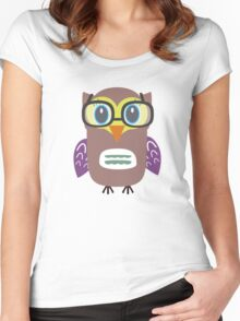 Nerdy owl  Women's Fitted Scoop T-Shirt