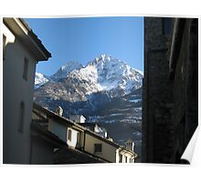 Old building in front of snowy mountains Poster