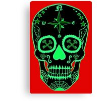 Logistic Specialist - Day of the Dead Neon Green Canvas Print