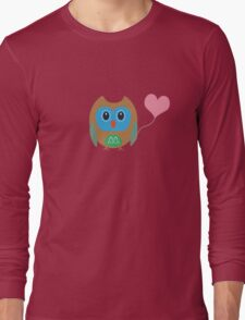 Cute owl with heartballoon Long Sleeve T-Shirt