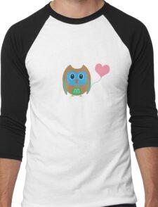 Cute owl with heartballoon Men's Baseball ¾ T-Shirt