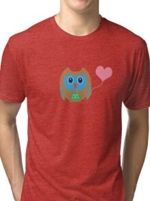 Cute owl with heartballoon Tri-blend T-Shirt