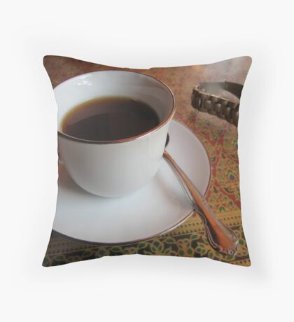 Tea Cup and Watch Throw Pillow