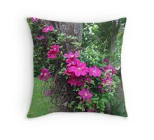 Clematis Vine Throw Pillow