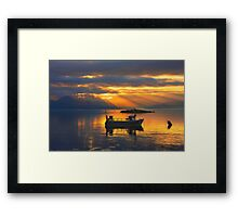Sunbeams over the Isle of Skye, Scotland. Framed Print