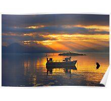 Sunbeams over the Isle of Skye, Scotland. Poster