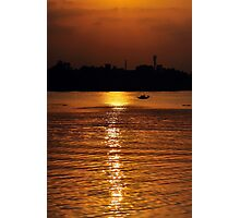 Sunset, Country boat heading towards golden rays, river ganges Photographic Print