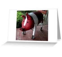 """PIG ON WHEELS""  Wooden Sculpture Greeting Card"