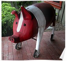 """PIG ON WHEELS""  Wooden Sculpture Poster"