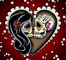 Ashes - Day of the Dead Couple - Sugar Skull Lovers by prettyinink