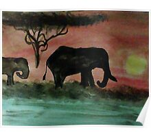 Elephants in a sunset, watercolor Poster
