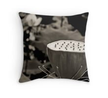 Black and White Lotus Seed Pod Throw Pillow