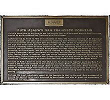 Ruth Asawa's San Francisco Fountain plaque Photographic Print