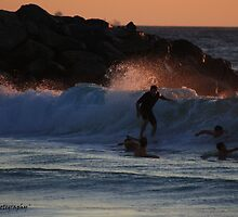 'One Last Wave for the Day' - Floreat Beach WA by Brien Bland