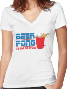 Funny Shirt - Beer Pong  Women's Fitted V-Neck T-Shirt