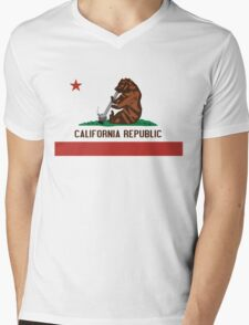 Funny Shirt - California State Flag Mens V-Neck T-Shirt