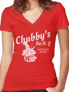 Funny Shirt - Chubby's Women's Fitted V-Neck T-Shirt