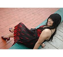 young lady wearing black and red gown Photographic Print