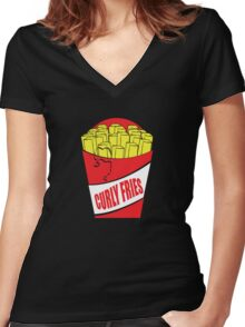 Funny Shirt - Curly Fries Women's Fitted V-Neck T-Shirt