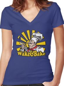 Funny Shirt - Wake and Bake Women's Fitted V-Neck T-Shirt