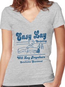 Funny Shirt - Easy Lay Women's Fitted V-Neck T-Shirt