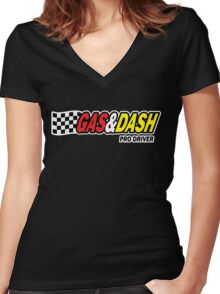 Funny Shirt - Gas and Dash Women's Fitted V-Neck T-Shirt