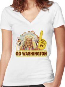 Funny Shirt - Go Washington Women's Fitted V-Neck T-Shirt
