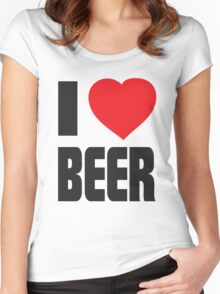 Funny Shirt - I Love Beer Women's Fitted Scoop T-Shirt
