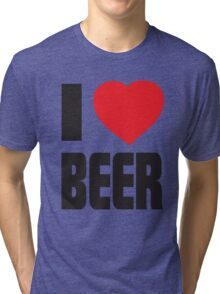 Funny Shirt - I Love Beer Tri-blend T-Shirt