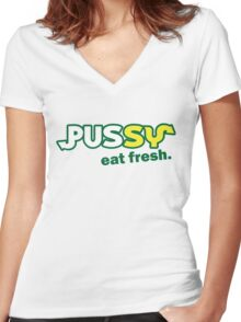 Funny Shirt - Eat Fresh Women's Fitted V-Neck T-Shirt