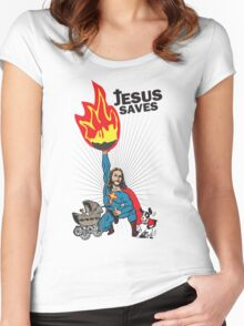 Funny Shirt - Jesus Saves Women's Fitted Scoop T-Shirt