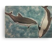 Dolphins romping in the ocean, watercolor Canvas Print