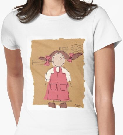red pinafore Womens Fitted T-Shirt