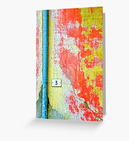 Drainpipe, amazing wall and number three Greeting Card
