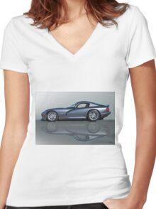2000 Dodge Viper GTS VS0 'Reflections' Women's Fitted V-Neck T-Shirt