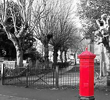 Red Post Box, Walthamstow Village, East London by Lynn Bolt