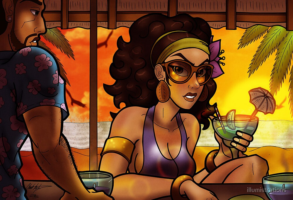 Beach Bar at Sunset by illumistrations