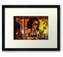Beach Bar at Sunset Framed Print