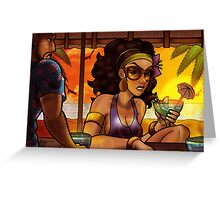 Beach Bar at Sunset Greeting Card