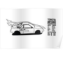 Toyota AW11 MR2 - AERO Graphic - PRINT Poster
