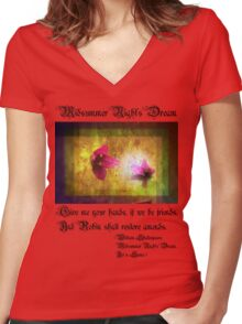 marriage of Titania; Salmon berry floral duet Women's Fitted V-Neck T-Shirt